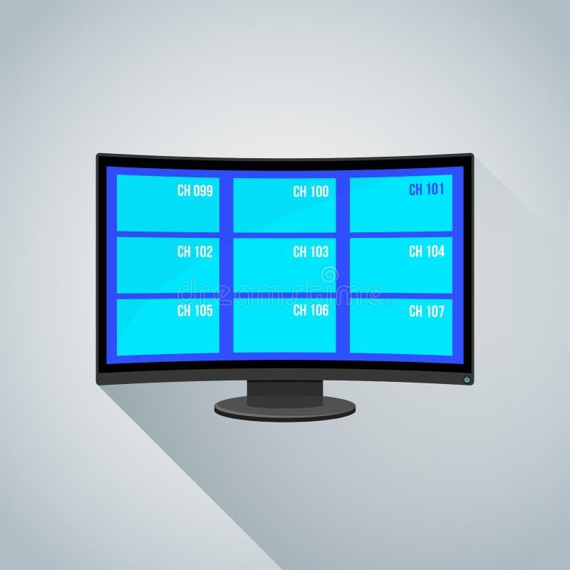 五颜六色的渠道弯曲的屏幕电视例证 库存例证