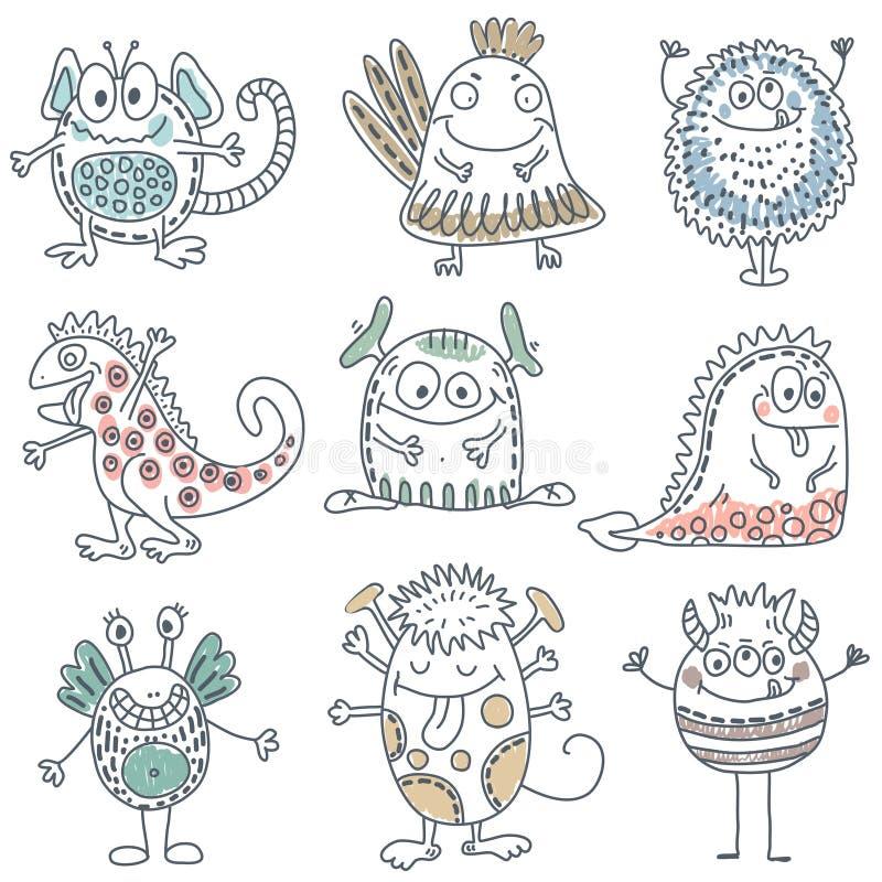 五颜六色的滑稽的妖怪的传染媒介汇集 逗人喜爱的字符 向量例证