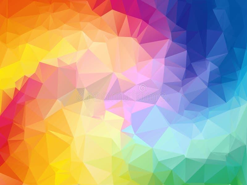 五颜六色的漩涡彩虹多角形背景 抽象五颜六色的向量 几何抽象彩虹颜色的三角 向量例证