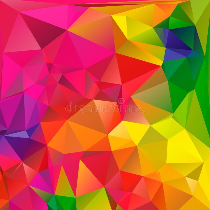 五颜六色的漩涡彩虹多角形背景 抽象五颜六色的向量 几何抽象彩虹颜色的三角 库存例证