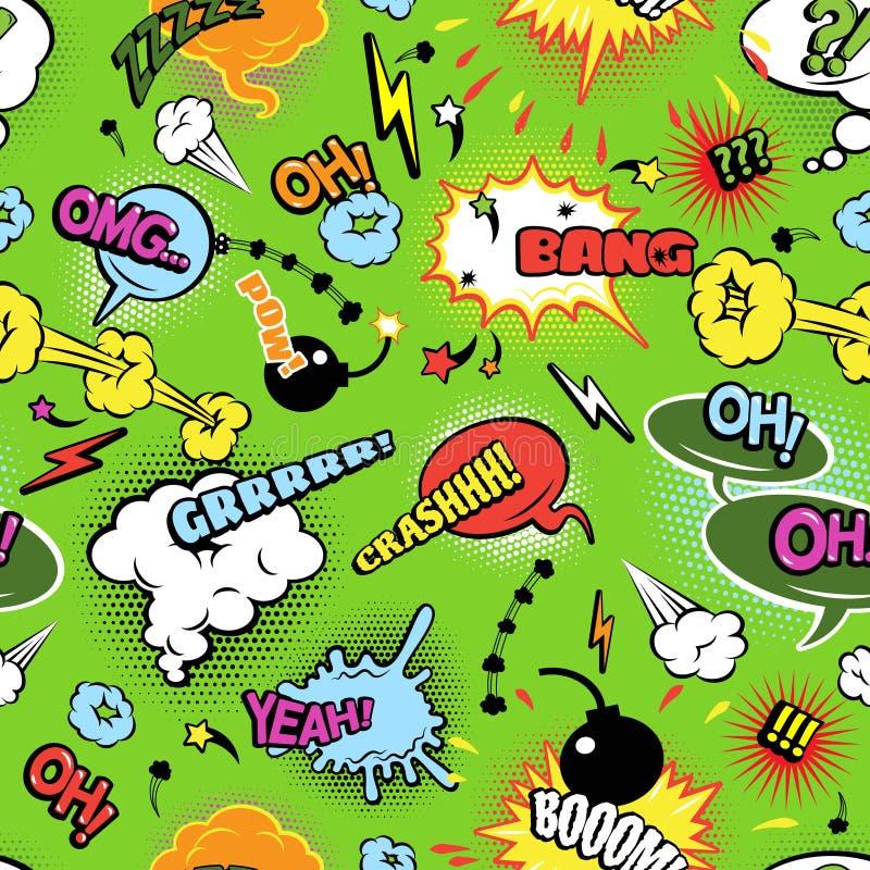 五颜六色的漫画无缝的泡影样式 库存例证