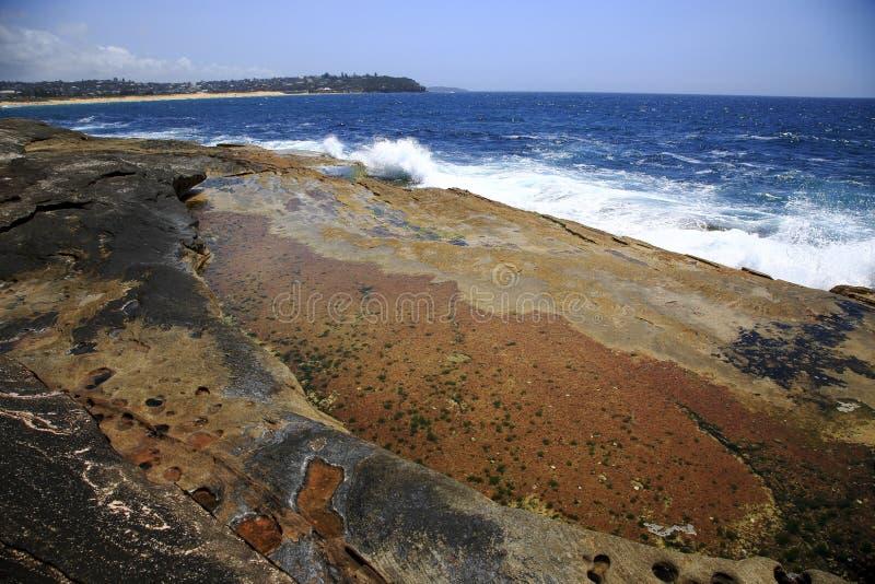 五颜六色的火山的海岸线 库存图片