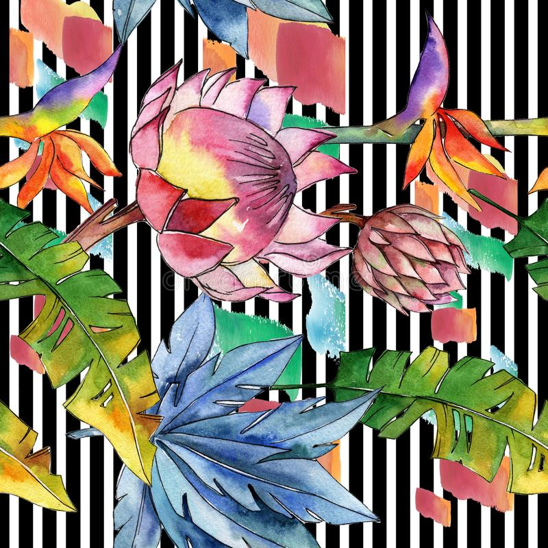 五颜六色的热带植物 花卉植物的花 无缝的背景模式 库存例证
