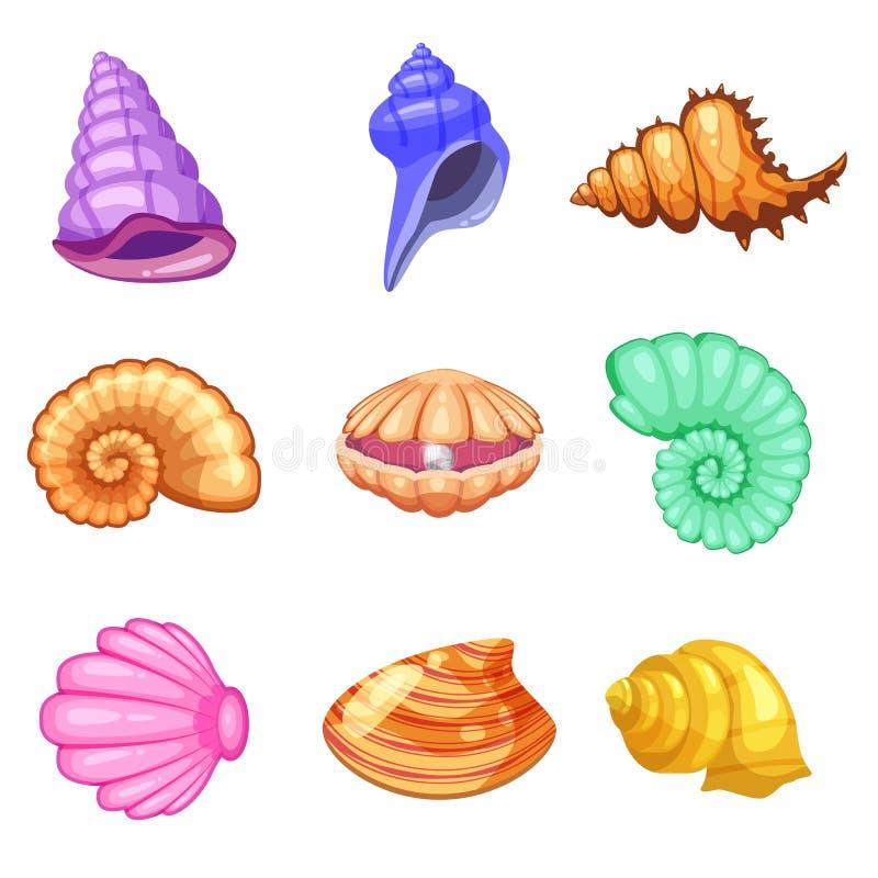 五颜六色的热带海壳壳水下的象集合框架,动画片样式 也corel凹道例证向量 向量例证