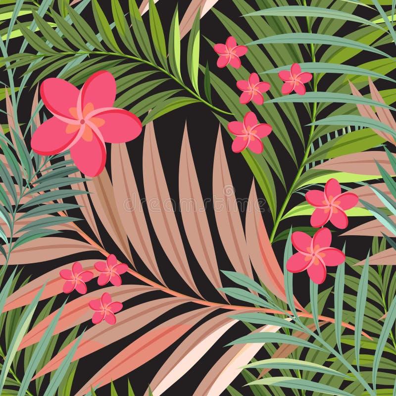 五颜六色的热带花、植物和叶子仿造背景 向量例证