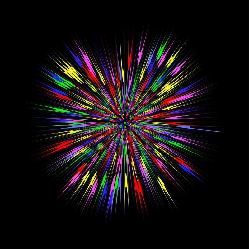五颜六色的爆炸,抽象爆炸 颜色疾风图表作用 向量 皇族释放例证