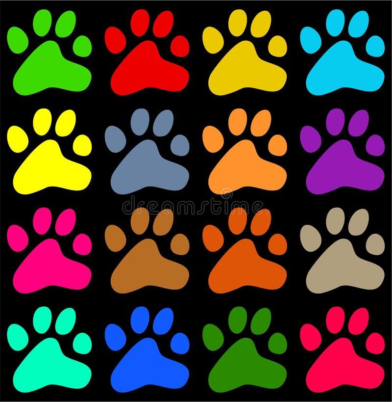 五颜六色的爪子 皇族释放例证