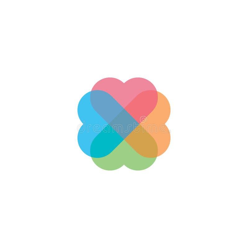 五颜六色的爱商标 库存例证