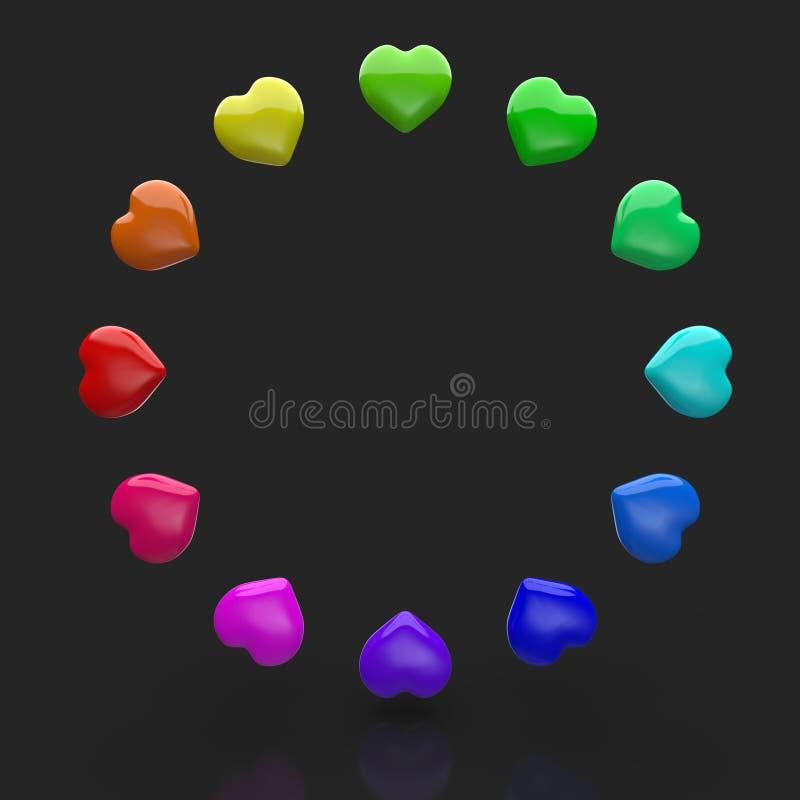 五颜六色的爱心脏圈子  皇族释放例证