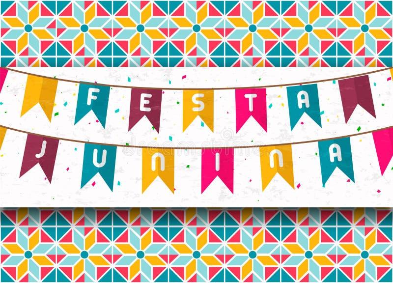 五颜六色的狂欢节旗子费斯塔Junina卡片  向量例证