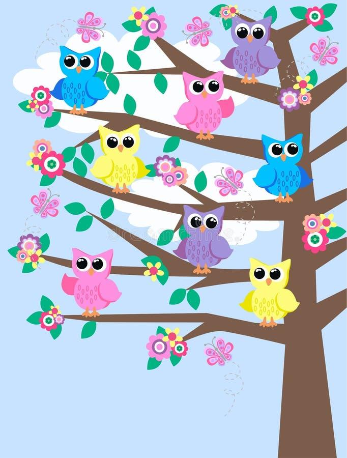 五颜六色的猫头鹰结构树 向量例证
