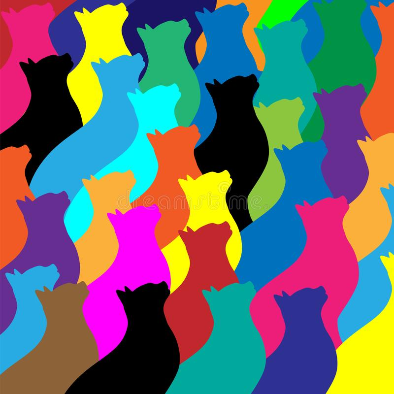 五颜六色的猫拼贴画样式传染媒介例证 图库摄影