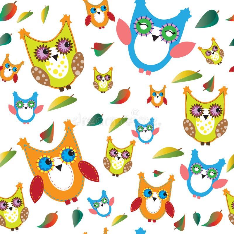 五颜六色的猫头鹰和秋叶 库存例证