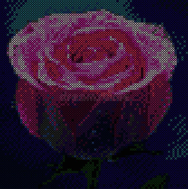 五颜六色的玫瑰十字架针技术 刺绣设计艺术 向量例证
