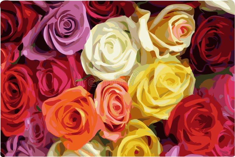 五颜六色的玫瑰 向量例证