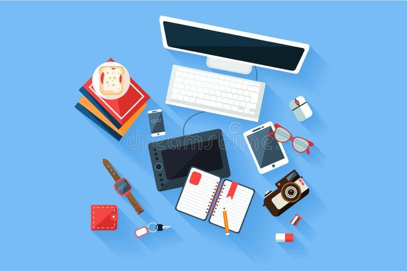 五颜六色的现代设计师工作场所顶视图 有计算机显示器的书桌和键盘、图形输入板、日志和书 向量例证
