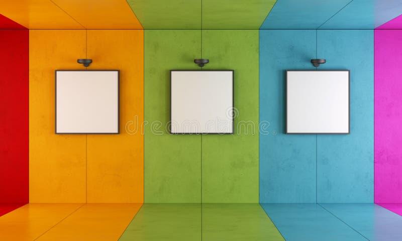 五颜六色的现代艺术画廊 库存例证