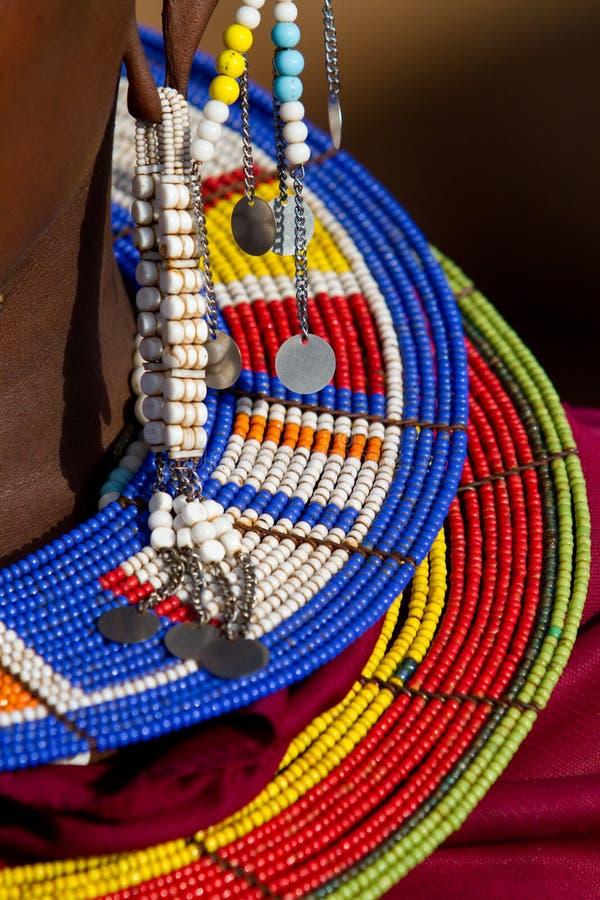 五颜六色的珠宝maasai 免版税库存图片