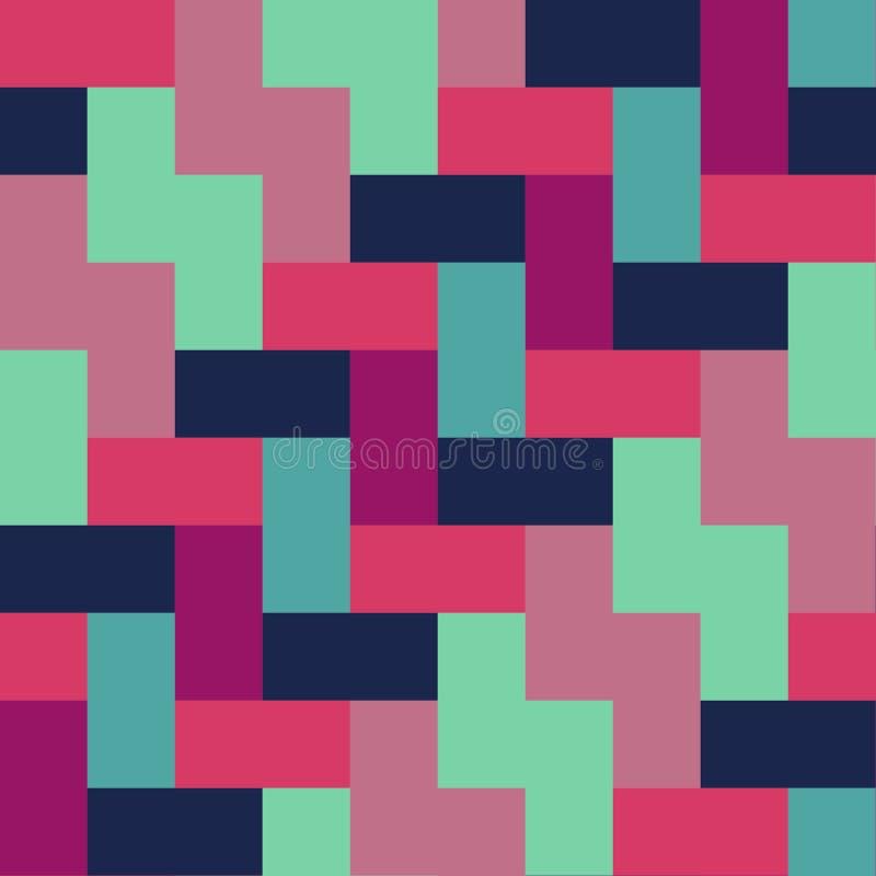 五颜六色的瓦片块样式无缝的重复的传染媒介背景 皇族释放例证