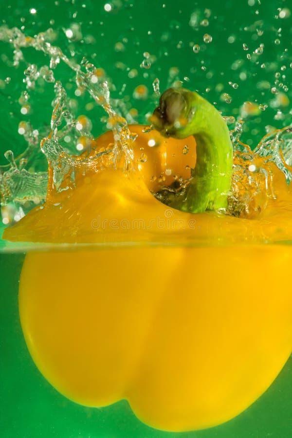 五颜六色的甜椒下落在水中 免版税库存图片
