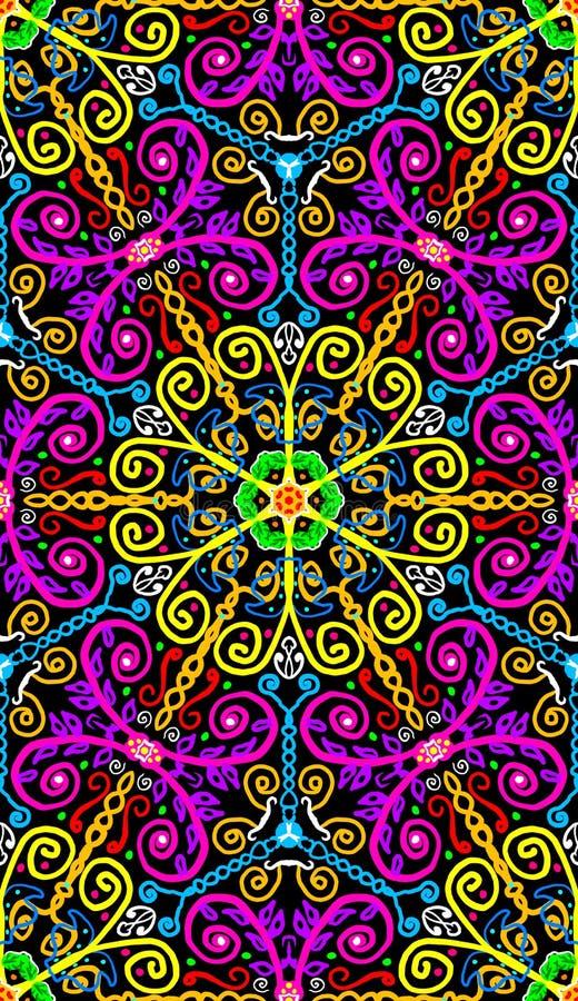 五颜六色的生动的淡紫色,桃红色和黄色花卉对称无缝的瓦片 皇族释放例证