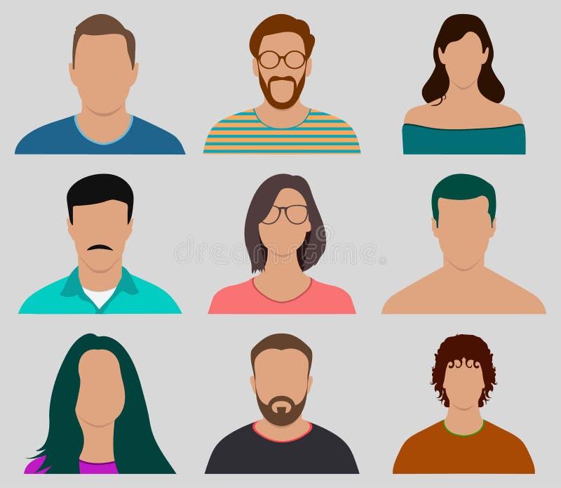 五颜六色的男性和女性面孔具体化象集合 库存例证