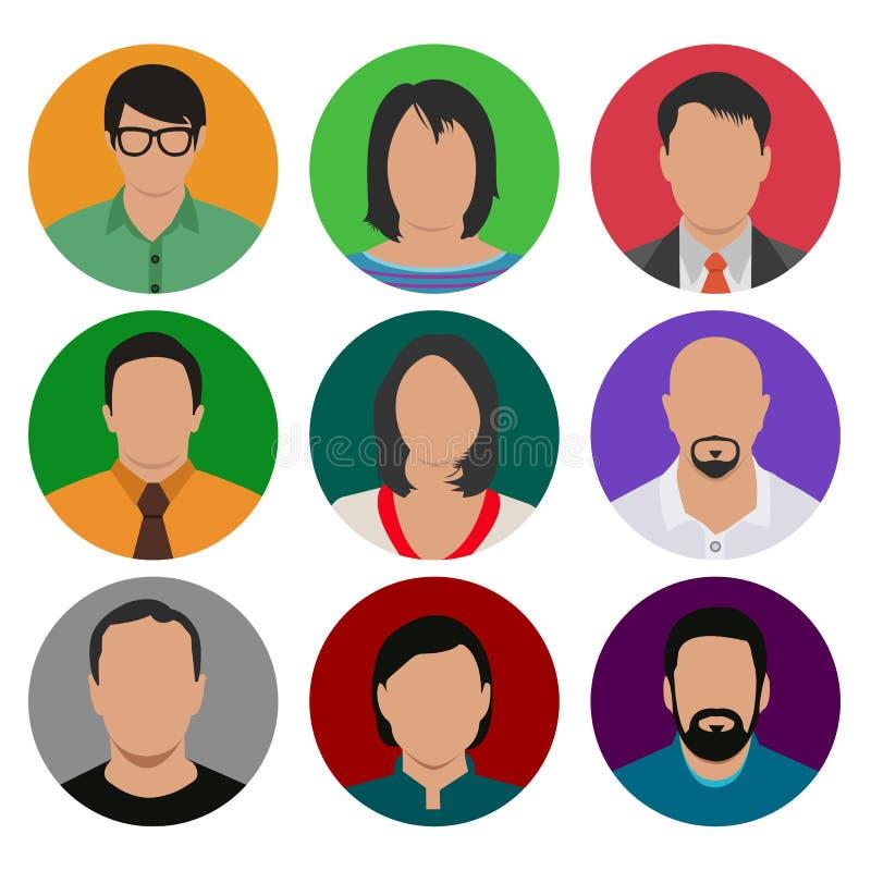 五颜六色的男性和女性面孔具体化象集合 皇族释放例证