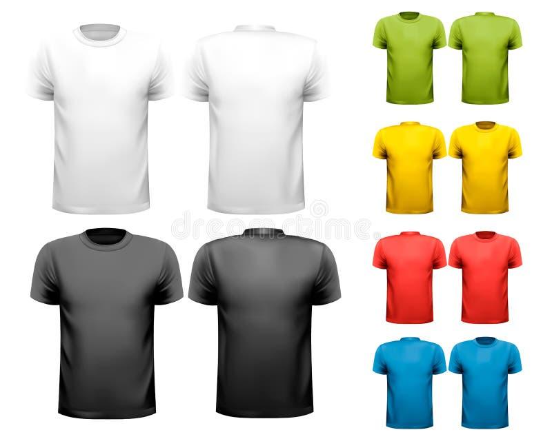 五颜六色的男性T恤杉。设计模板。 库存例证