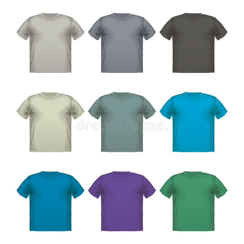 五颜六色的男性T恤杉传染媒介穿戴打印被隔绝的套 库存例证
