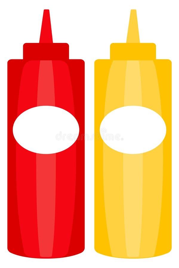 五颜六色的番茄酱芥末酱瓶象海报 库存照片