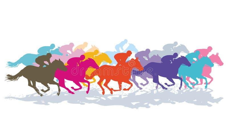 五颜六色的疾驰的马 向量例证