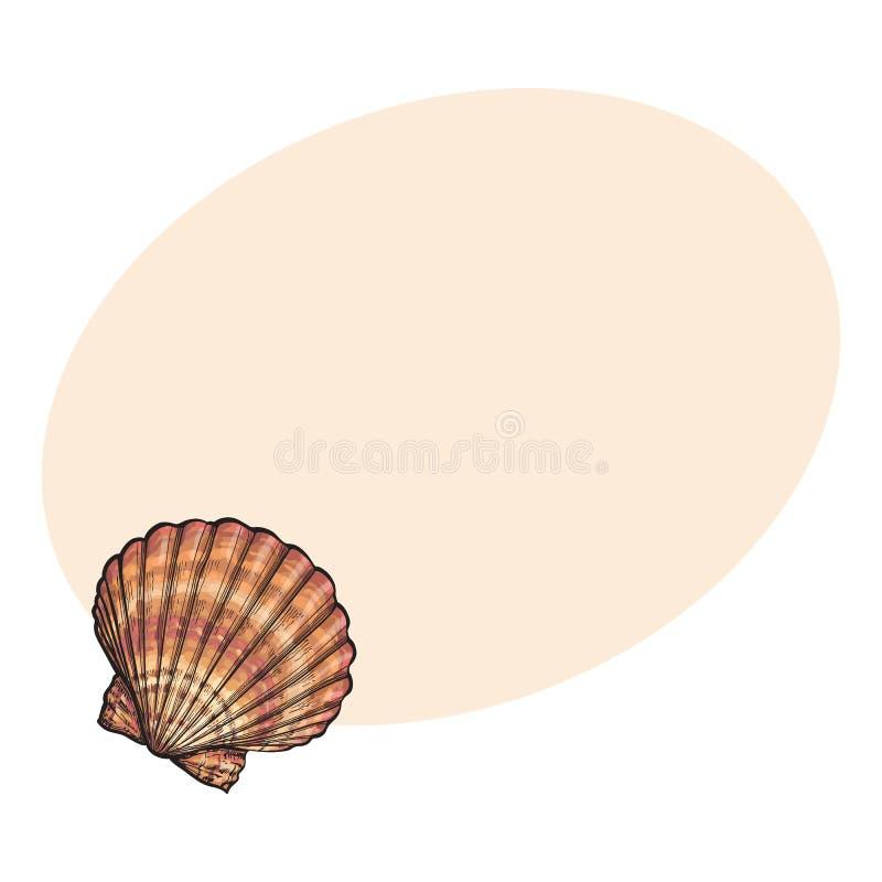 五颜六色的盐水扇贝海壳,剪影样式传染媒介例证 向量例证