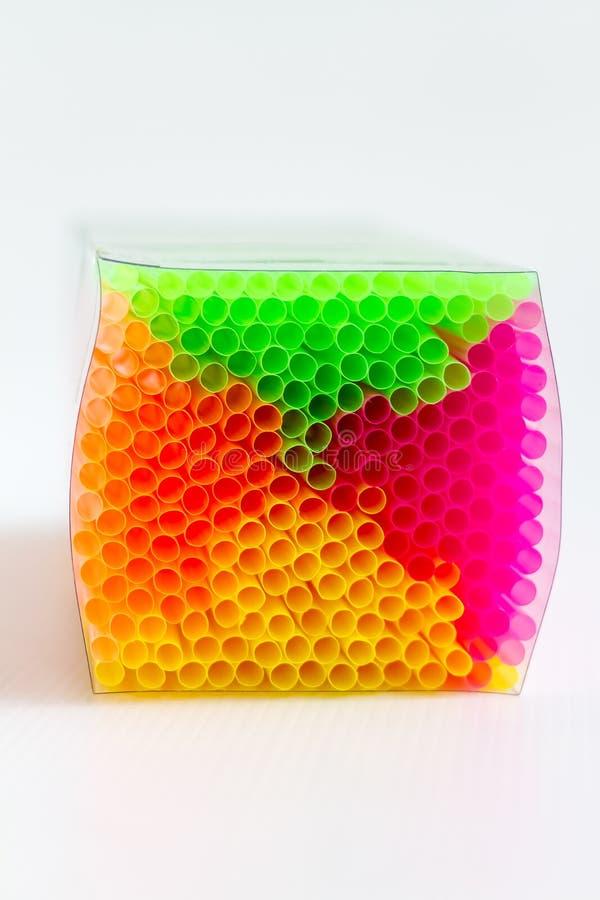 五颜六色的盒塑料吸管 库存照片