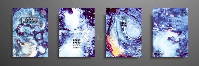 五颜六色的盖子设计设置与纹理 绘画的特写镜头 抽象明亮的手画背景,可变的丙烯酸酯的绘画 库存例证