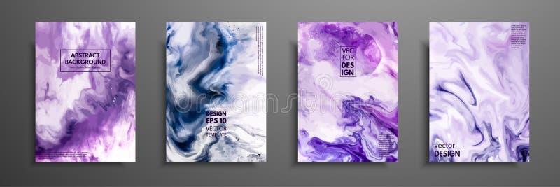 五颜六色的盖子设计设置与纹理 绘画的特写镜头 抽象明亮的手画背景,可变 向量例证