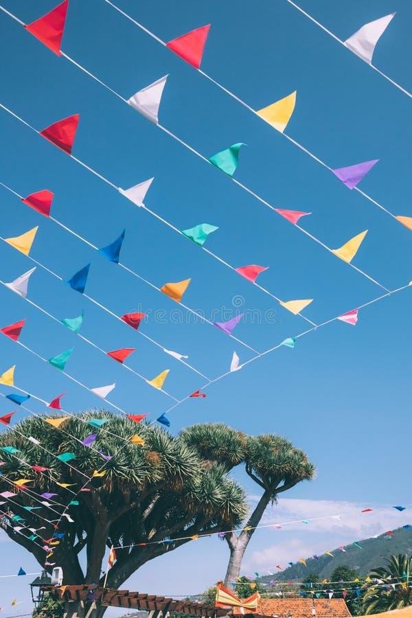 五颜六色的短打的旗子彩虹被栓对在天空蔚蓝的一个龙血树在背景,西班牙 免版税库存照片