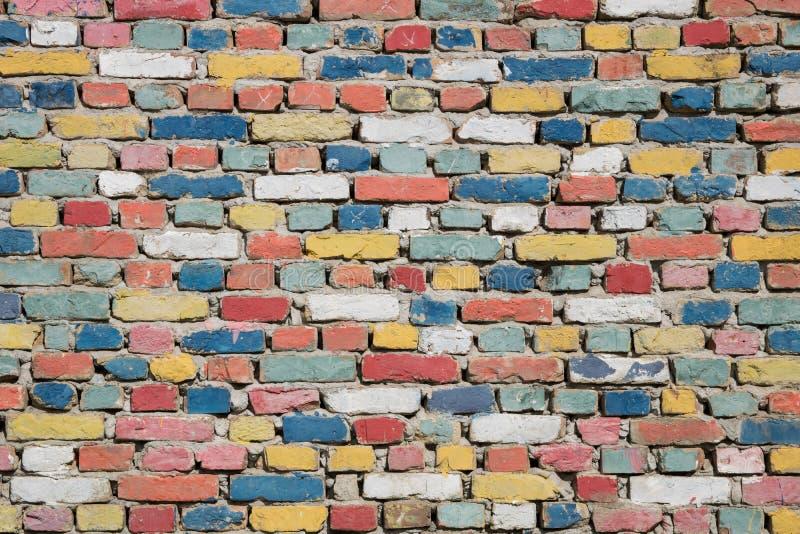五颜六色的砖纹理 库存照片