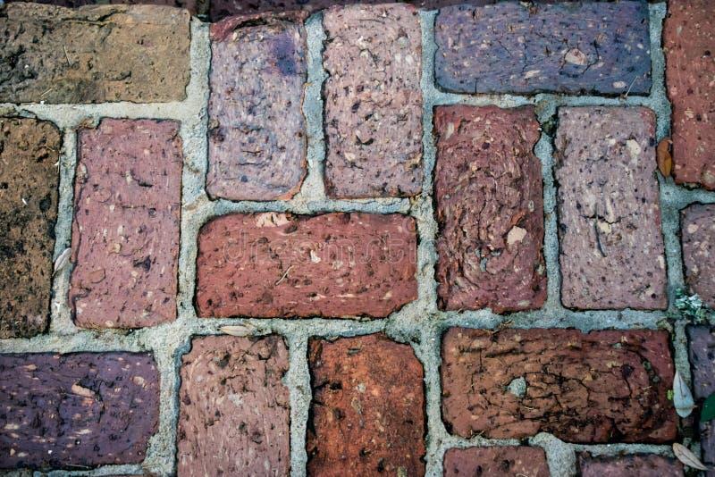 五颜六色的砖道路背景纹理 库存图片