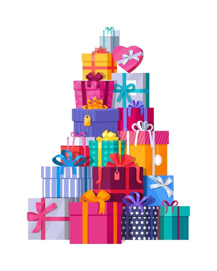 五颜六色的礼物盒山在白色的 向量例证
