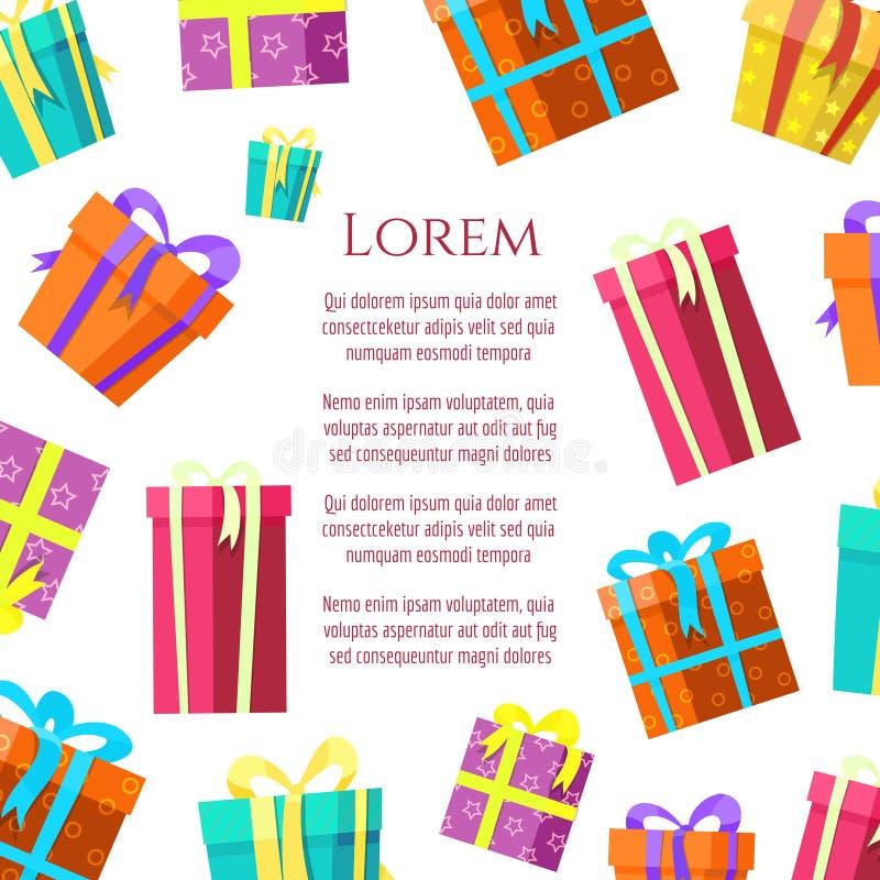 五颜六色的礼物盒海报设计 皇族释放例证