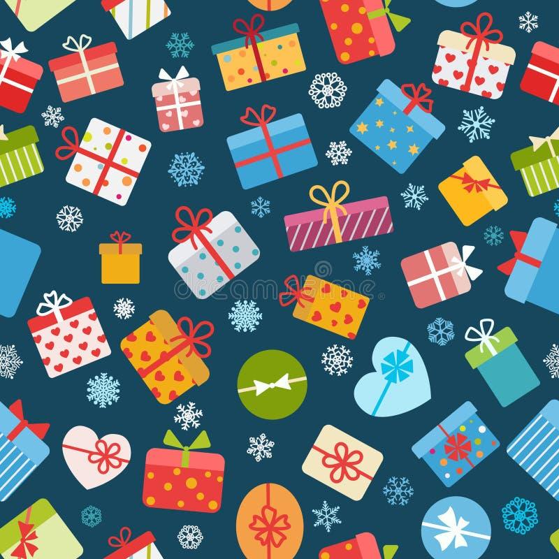 五颜六色的礼物盒的无缝的样式 库存例证