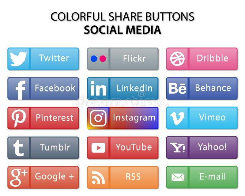 五颜六色的社会媒介份额网按钮 皇族释放例证