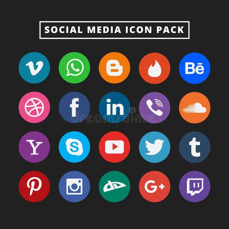 五颜六色的社会媒介象集合 网的平的传染媒介设计象 惊人的例证 库存例证