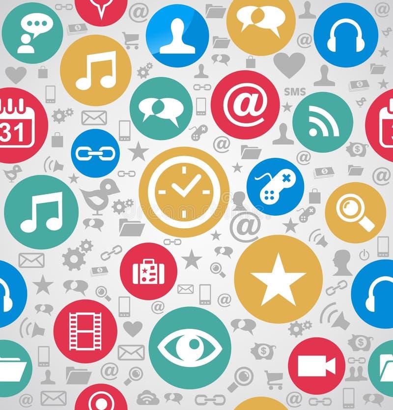 五颜六色的社会媒介象无缝的样式背景EPS10 fi 向量例证