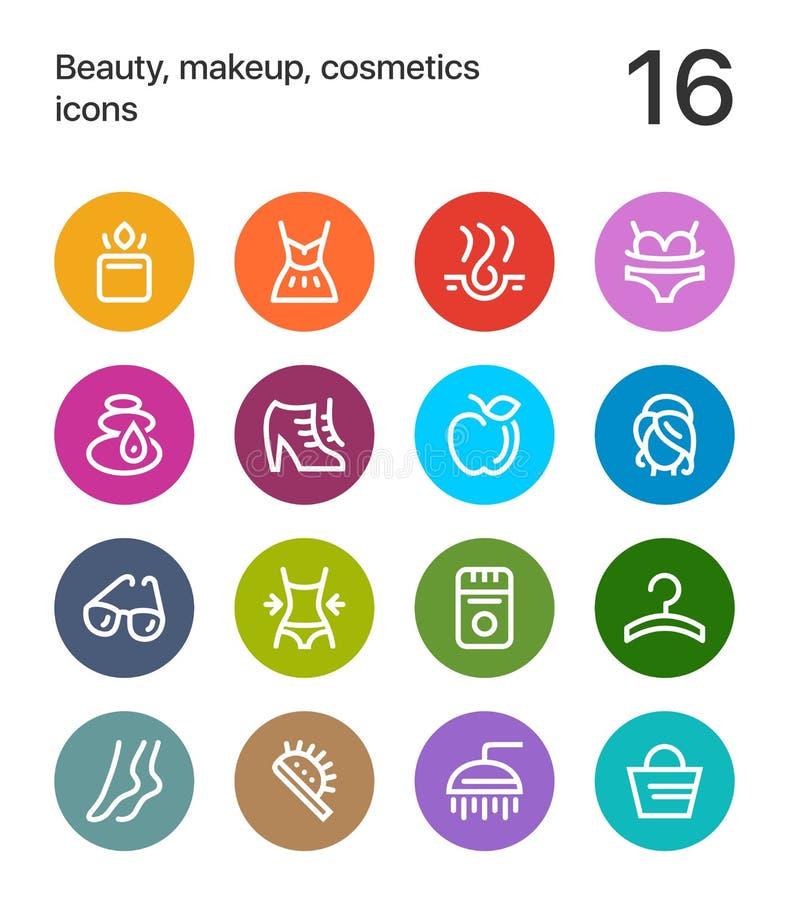 五颜六色的秀丽、化妆用品、构成象网的和流动设计组装2 向量例证