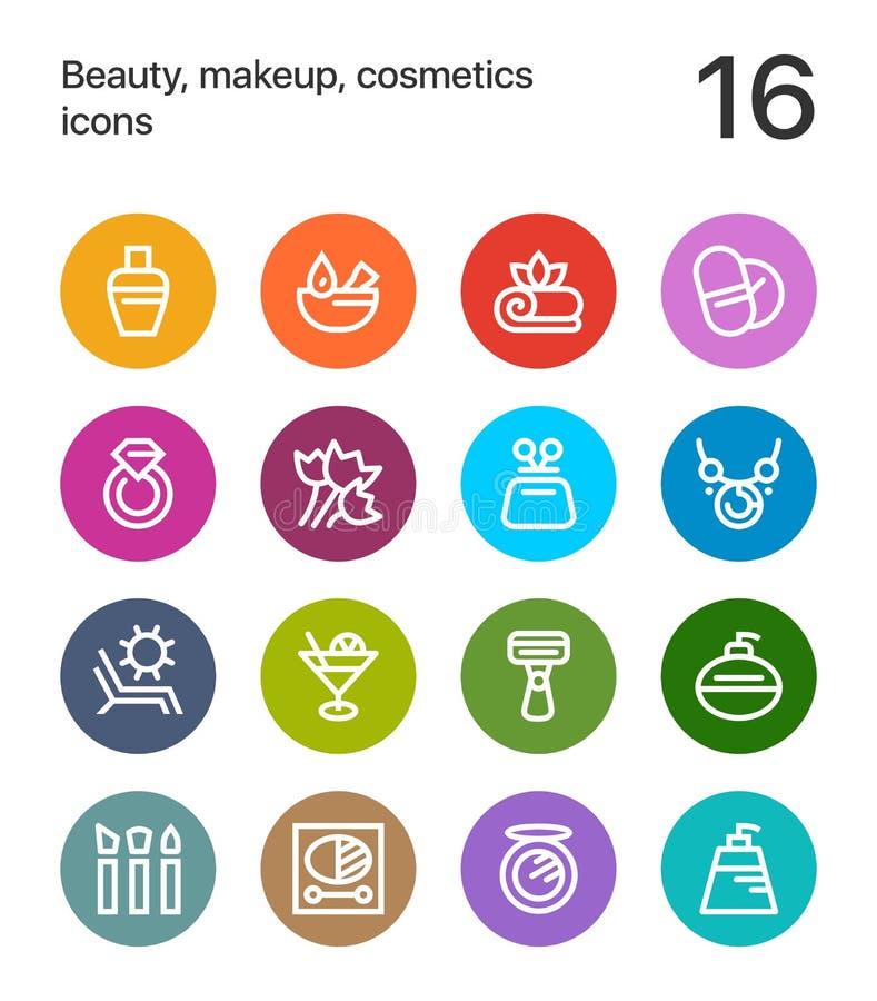 五颜六色的秀丽、化妆用品、构成象网的和流动设计组装3 向量例证
