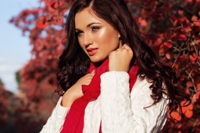 五颜六色的秋叶的美丽的微笑的女孩 图库摄影