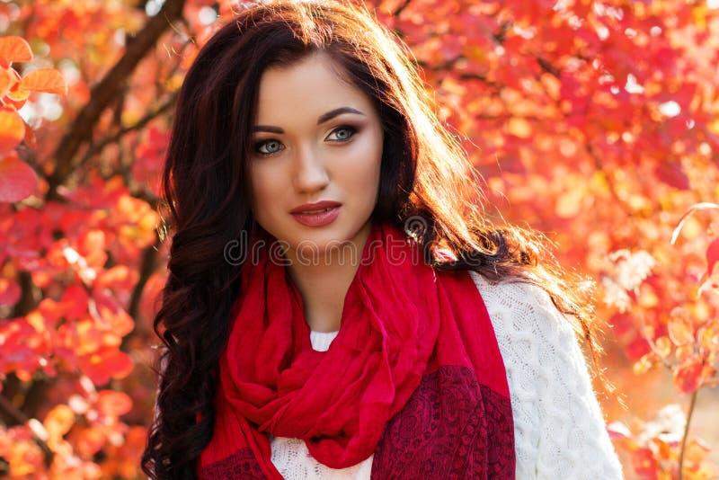 五颜六色的秋叶的美丽的微笑的女孩 免版税库存照片