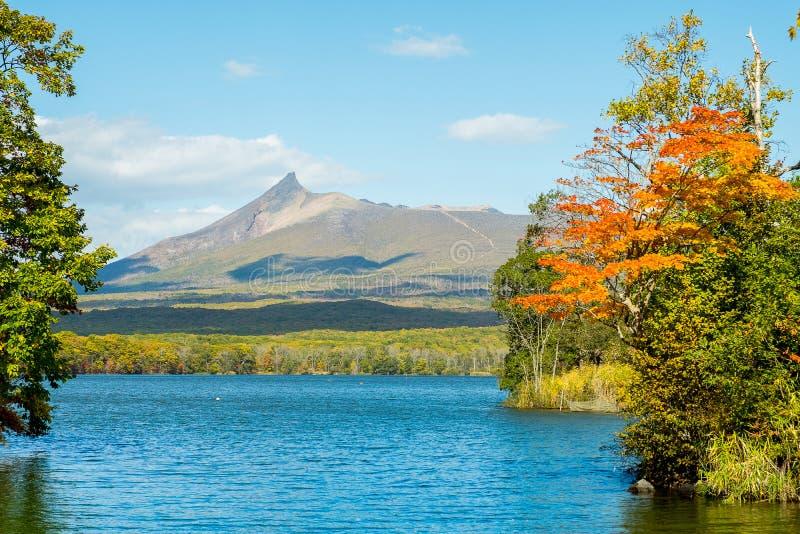 五颜六色的秋天季节湖在Onuma国家公园在秋天和登上Komagatake Komagatake火山在函馆,北海道, Jap 免版税库存图片