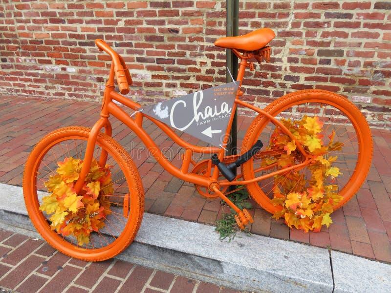 五颜六色的秋天自行车在乔治城 图库摄影